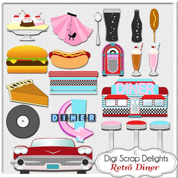 Retro 1950s Diner in Red, Aqua, Turquoise Digital Clip Art.