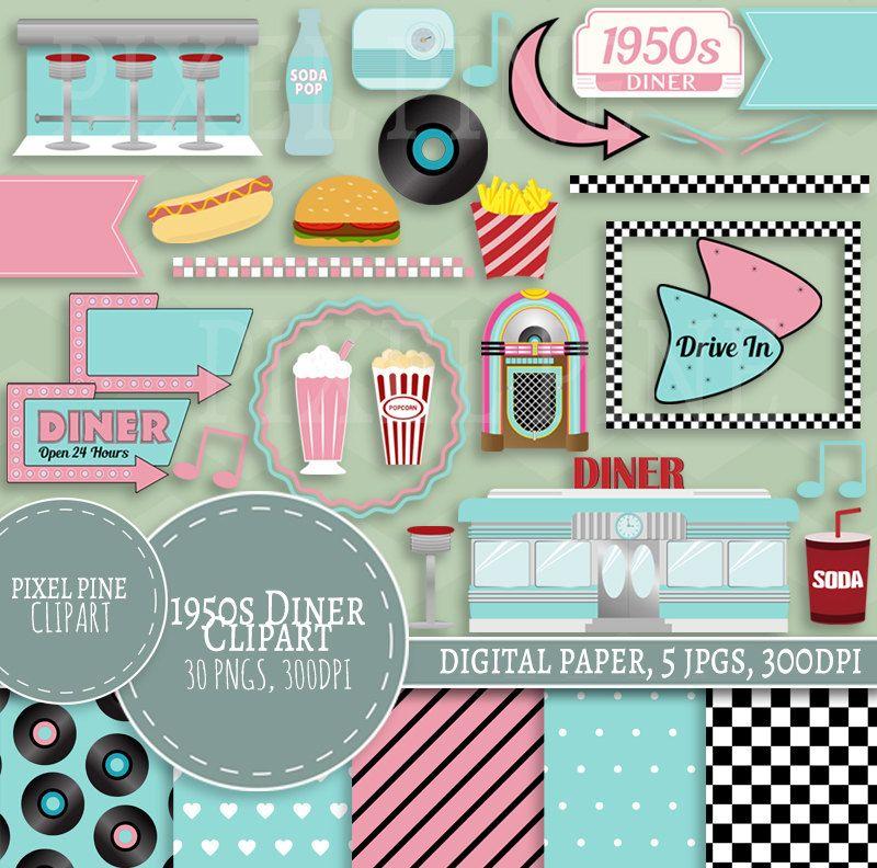 Fifties Diner Clipart Set, 30 PNGs, 5 1950s Diner Digital.