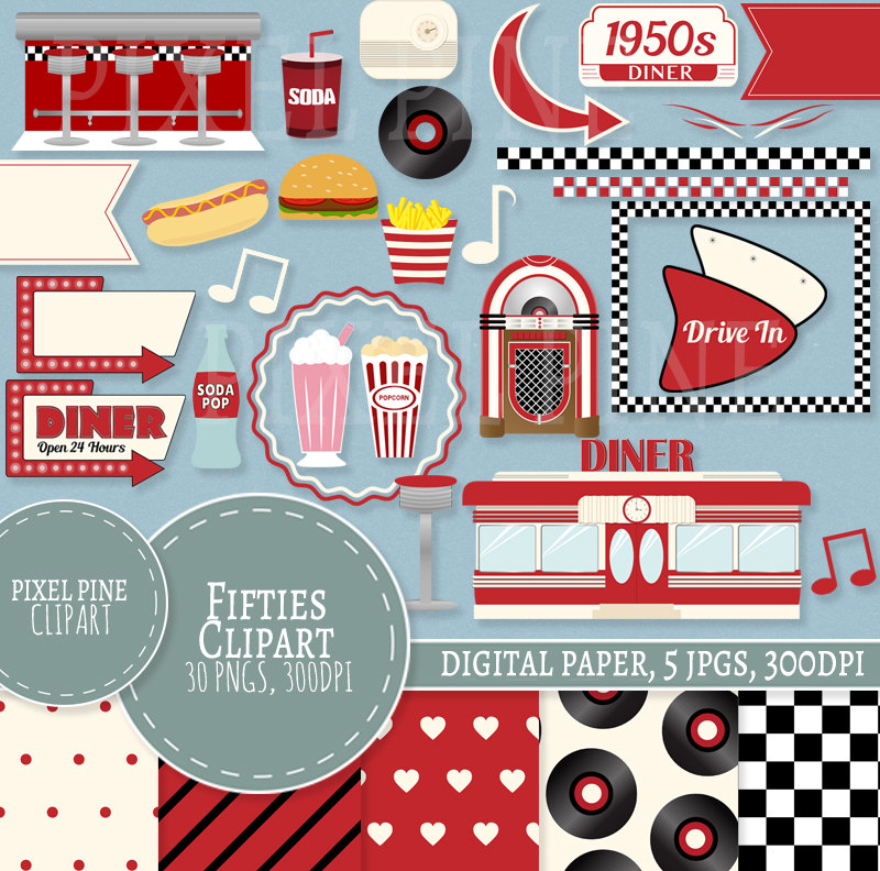 1950s Clipart Set, Red Diner 30 PNGs, 5 1950s Digital Paper JPGs,  Commercial Use.