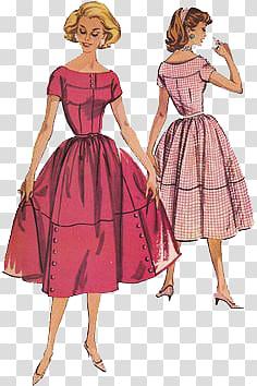 1950s 1960s Dress Vintage clothing Pattern, Women.