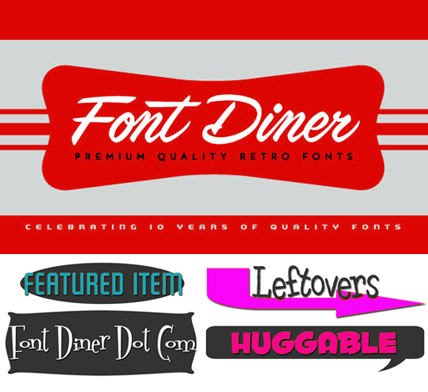 Font Diner Full Collection of Retro Fonts and Clipart Free.
