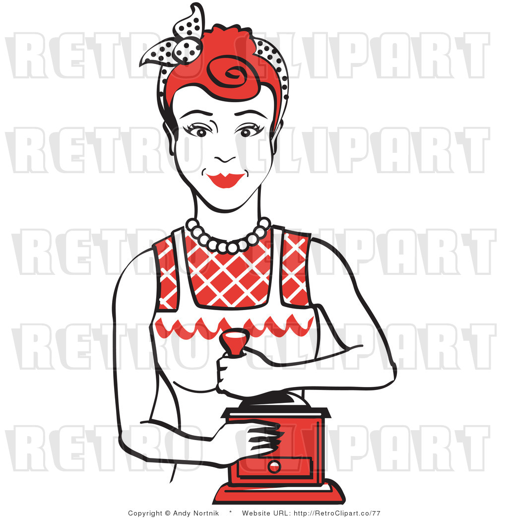 Royalty Free Vector Retro Clip Art of a 1950\'s Housewife or.