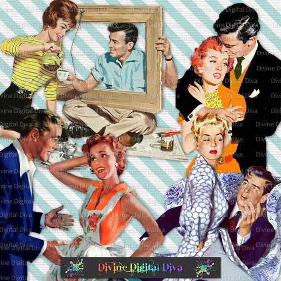 Retro Couples 50s Vintage Housewives Husbands.