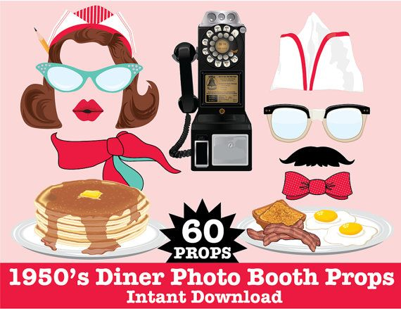 50s Photo Booth Props, Diner Party, Fifties Party, Rock n.