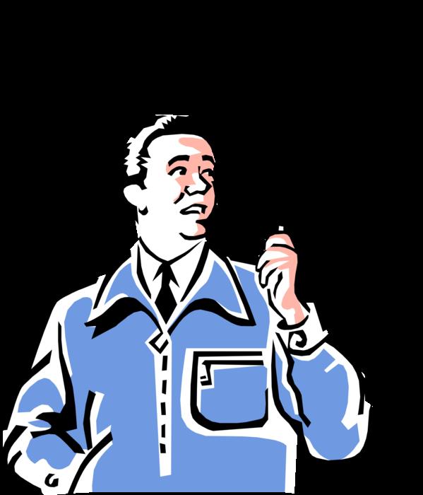 Vector Illustration Of 1950\'s Vintage Style Man Smoking.