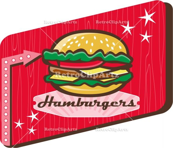 Retro 1950s Diner Hamburger Sign Vector Stock Illustration.