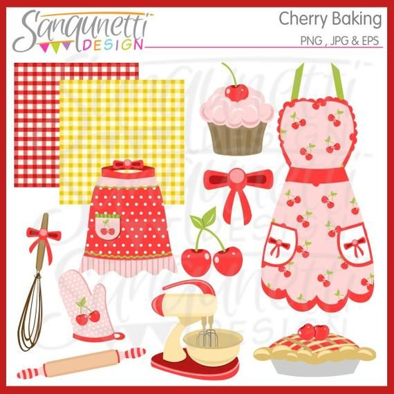 Baking Clipart, retro cherry pie digital art, vintage.