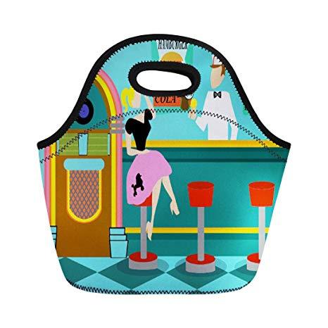 Amazon.com: Ablitt Lunch Bags Pink 1950S Retro Soda Fountain.