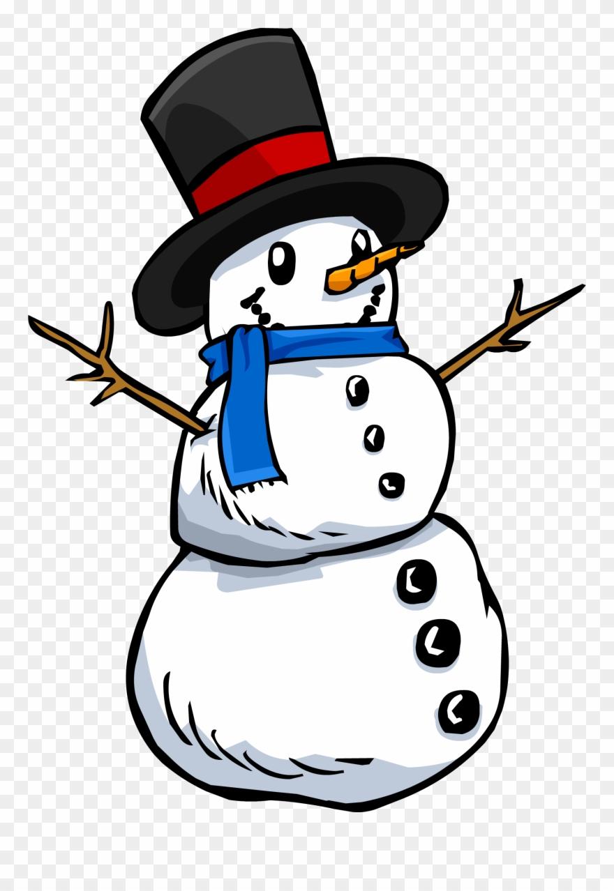 Vintage Snowman Clipart Transparent Background.
