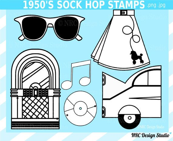 Retro Clip Art 1950\'s Sock Hop Digital Stamps by.
