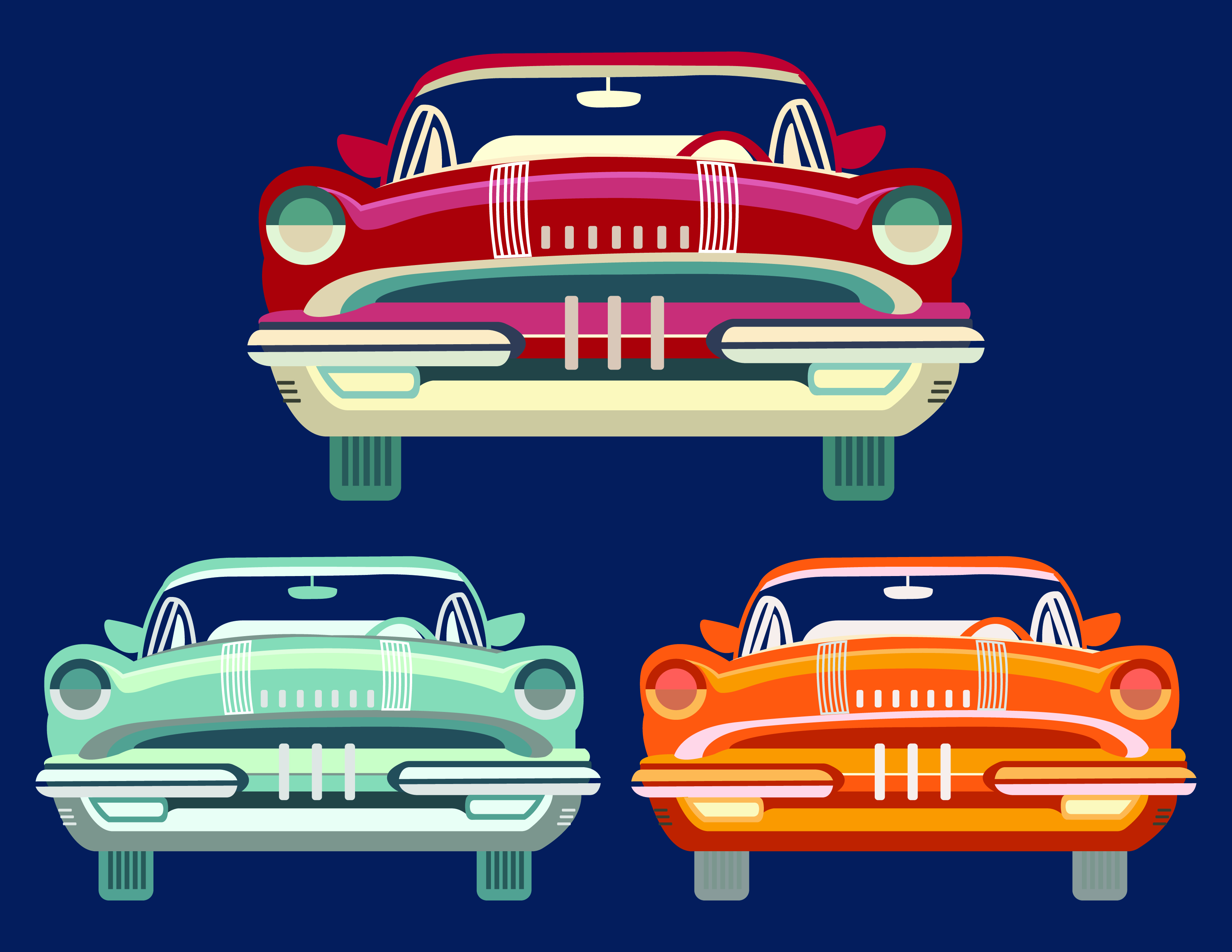 50s Car Free Vector Art.