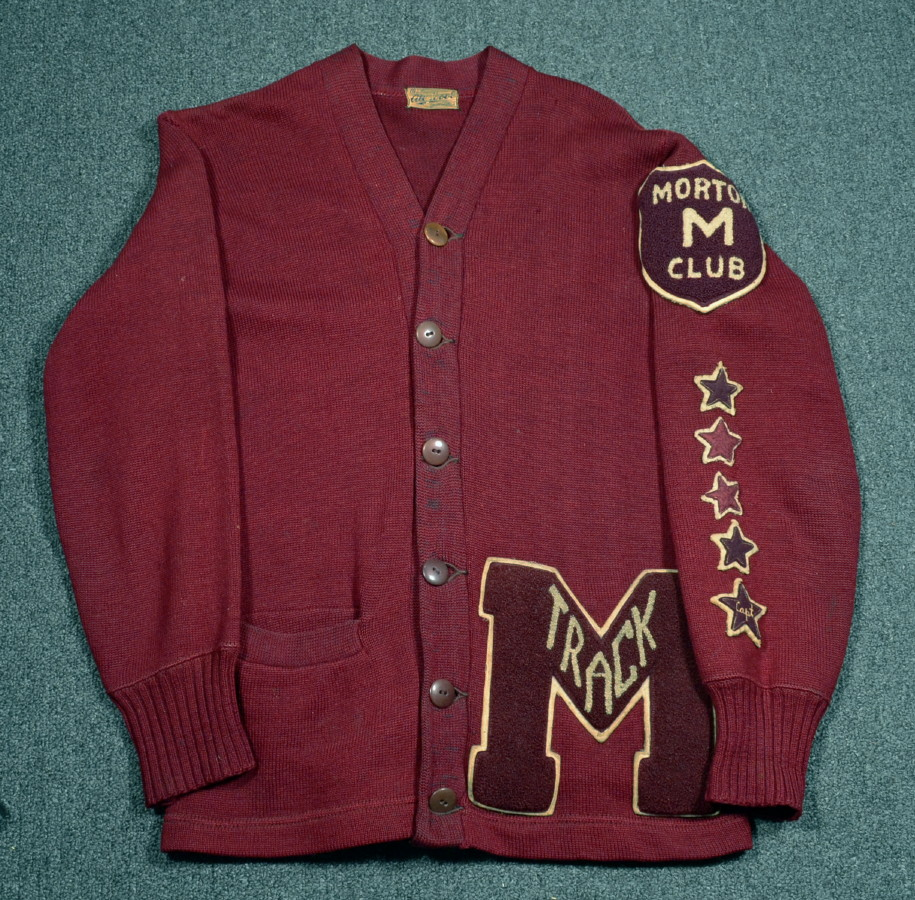 Details about 40s/50s Vintage 5 STAR Letterman VARSITY Cardigan  Sweater_Morton Club_Chenille.