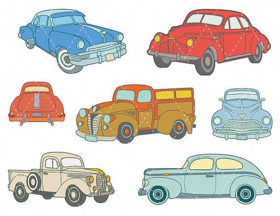 Digital Vintage Car Clip Art Antique Car ClipArt Retro Car.