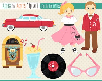 1950s Fun in the Fifties Clip Art.