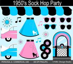 1950s Fun in the Fifties Clip Art.