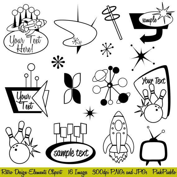 Retro Clipart Clip Art, Mod or Vintage Clipart Clip Art.