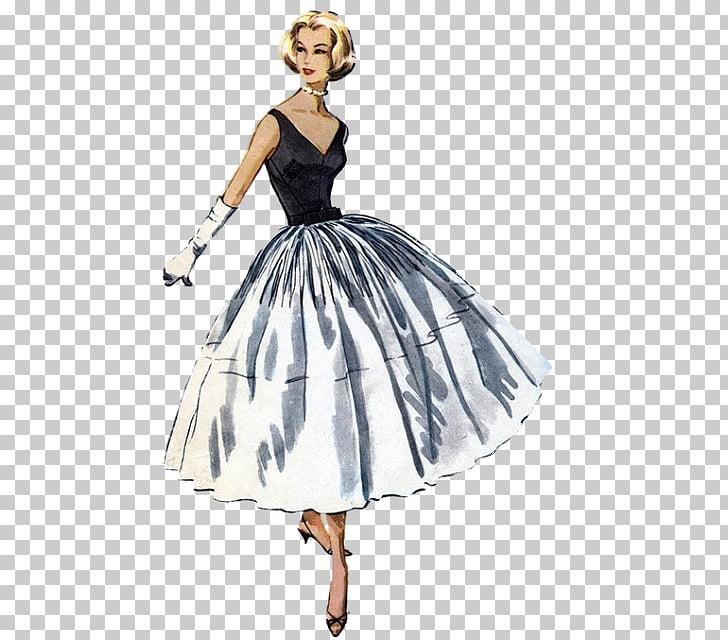 1950s Fashion Dress Vintage clothing Pattern, woman fashion.