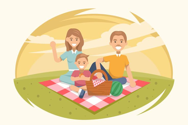 1950s Family Picnic Vectors.