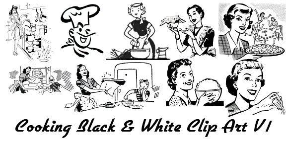 Retro Clip Art 1950's Images Retro Black & White Clip Art.