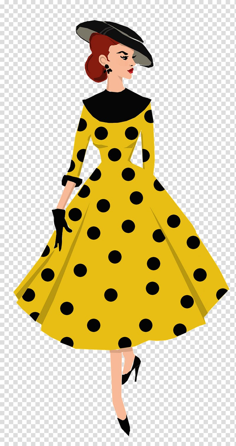 Polka dot 1950s Fashion illustration Drawing, model.