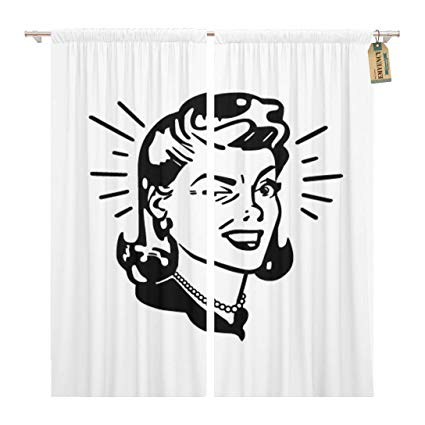 Amazon.com: Golee Window Curtain 1950S Retro Woman Winking.