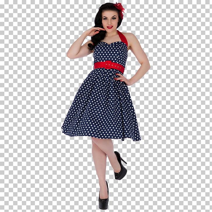 1950s Dress Vintage clothing Polka dot Skirt, rockabilly pin.