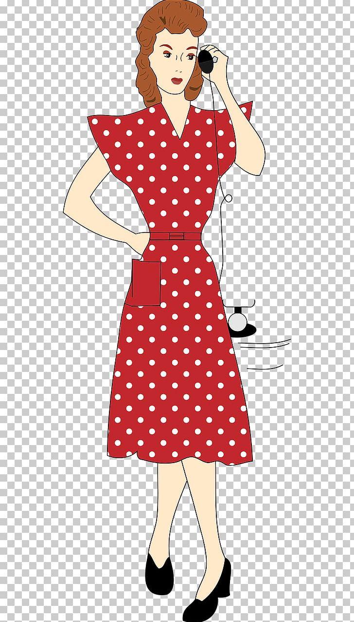 1940s Woman Dress PNG, Clipart, 1940s, 1950s, Clip Art.