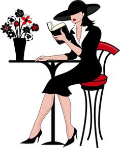 1950s housewife with a book clipart.