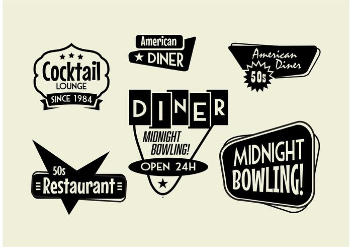 50s Diner, Bowling, and Cocktail sign Pack.