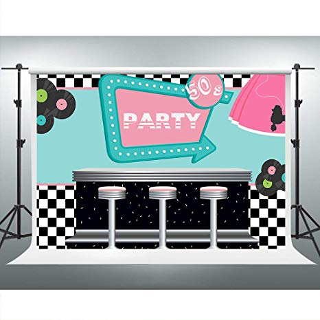 Rockin 50s Diner Backdrop for Party 1950s Sock Hop Theme Party Photography  Backgrounds 7x5ft Photo Booth Studio Props ZYVV0515.