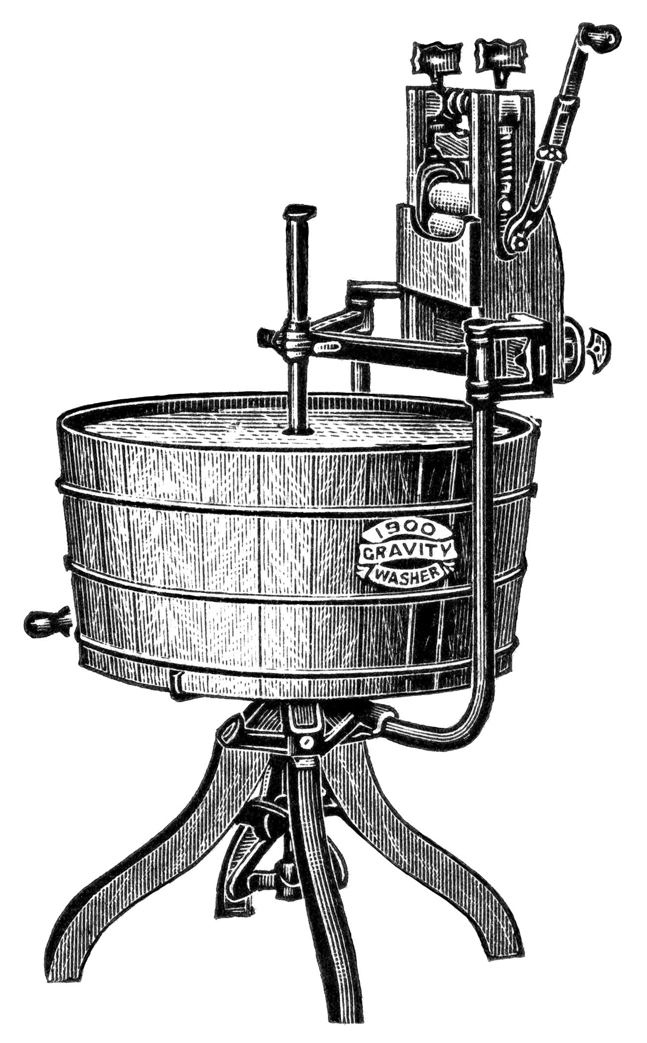 Free Vintage Image Gravity 1900 Washing Machine Ad and Clip.