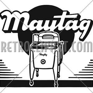 Washing Machine Ad, RetroClipArt.com.