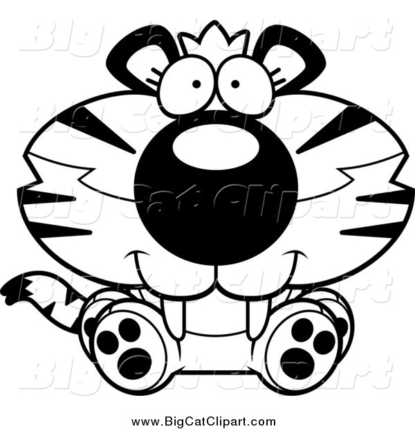 Big Cat Cartoon Vector Clipart of a Black and White Happy Cute.