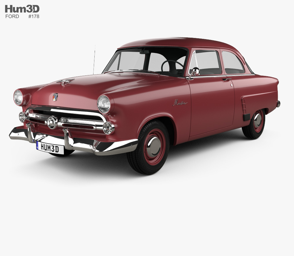 Ford Mainline (70A) Tudor Sedan 1952 3D model.