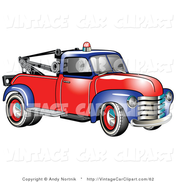 Clipart of a Vintage Blue and Red 1953 Chevy Tow Truck with a Red.