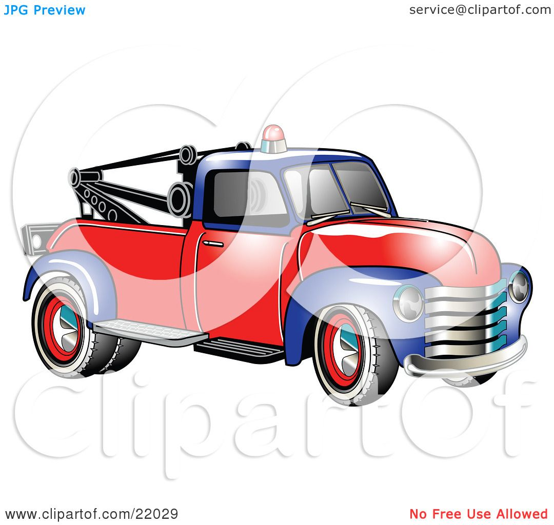 Clipart Illustration of a Vintage Blue And Red 1953 Chevy Tow Truck.