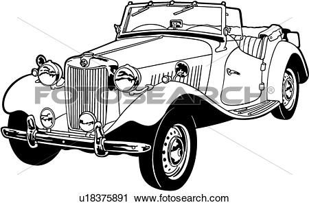 Clipart of , 1953, automobile, car, classic, mgtd, sport.