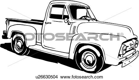 Clipart of illustration, lineart, classic, 1953, ford, pickup.
