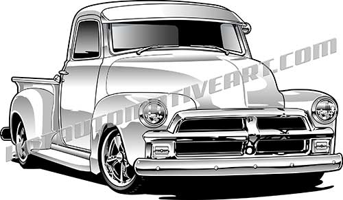 1954 chevy pickup truck vector clipart, buy two images, get one.