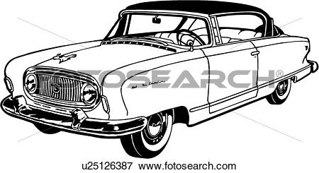 Clip Art of , 1955, automobile, car, classic, nash, u25126387.