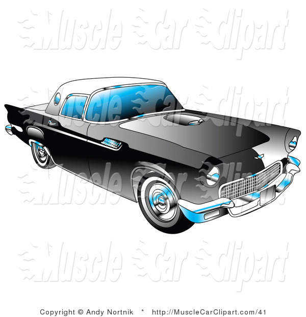 Automotive Clipart of a Black 1955 Ford Thunderbird by Andy.