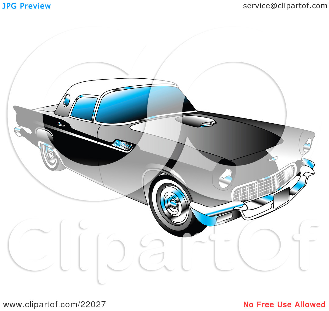 Clipart Illustration of a Black 1955 Ford Thunderbird Car With A.