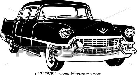 Clipart of , 1955, automobile, caddie, caddy, cadillac, car.