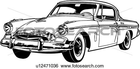 Clip Art of , 1955, automobile, car, classic, president.