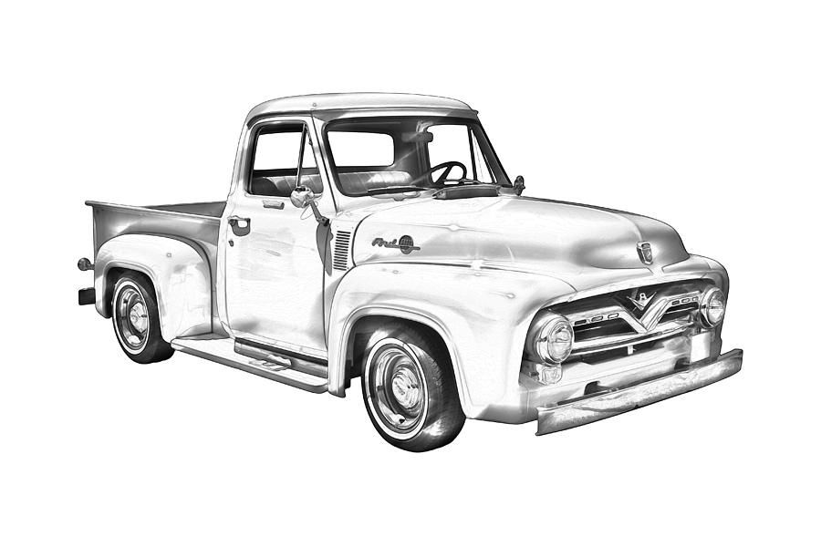 1955 F100 Ford Pickup Truck Illustration.