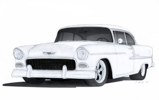 1955 Chevrolet Bel Air Drawing by Vertualissimo.
