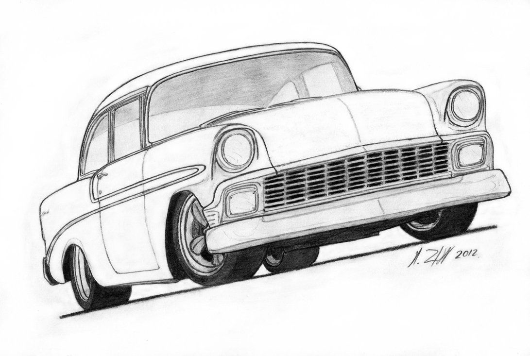 1956 Chevrolet Bel Air Pro Touring Drawing by Vertualissimo.