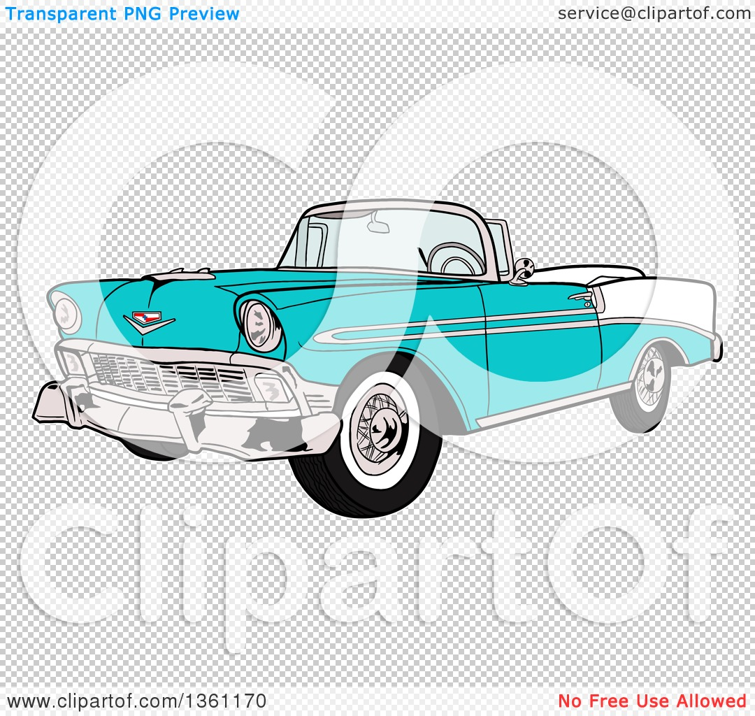 Clipart of a Cartoon Blue 1956 Chevrolet Bel Air Classic.