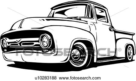 Clip Art of illustration, lineart, classic, 1956, ford, pickup.