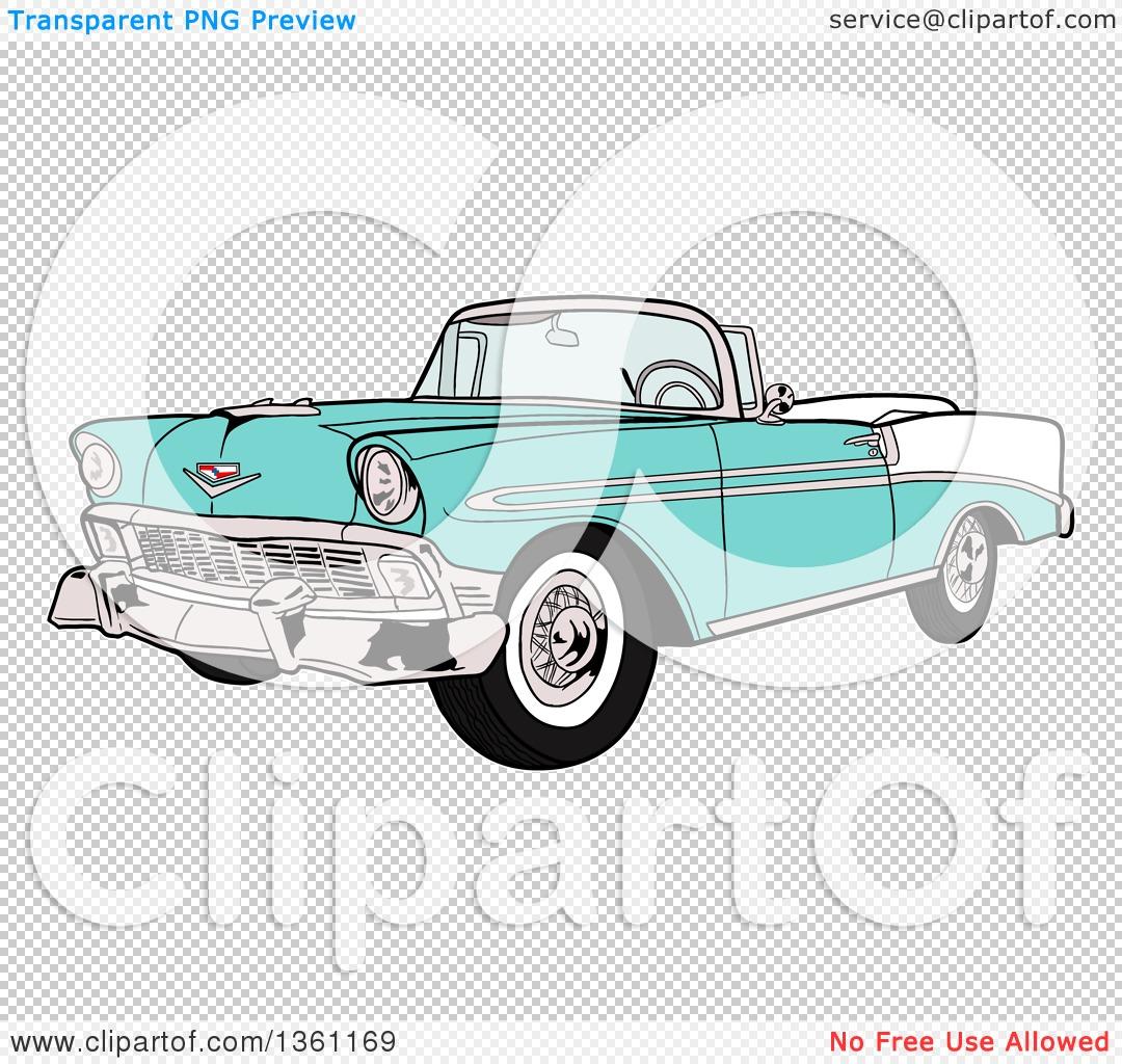 Clipart of a Cartoon Light Blue 1956 Chevrolet Bel Air Classic.